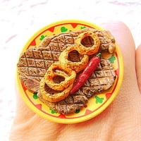 Cute Food Ring Steak Onion Rings Spicy Pepper by SouZouCreations