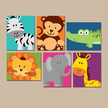 JUNGLE Animal Wall Art, Jungle Animal Nursery Decor, Canvas or Prints, Gender Neutral Nursery Art, Jungle Animals PLAYROOM Decor, Set of 6