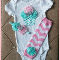 Baby Girl Cupcake First Birthday Outfit - Birthday Outfit - Teal - Chevron- Baby Girl - Onesuit - Headband