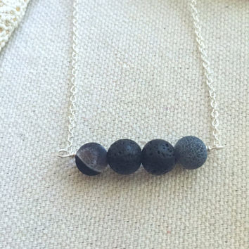 Lava Bead Necklace - Essential Oil Diffuser Necklace - Lava Stone Necklace - Black Stone Necklace - Aromatherapy Necklace