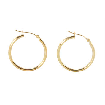 14k Yellow Gold Hoop Earrings 25mm Medium Latch Post Hoops - High Polish