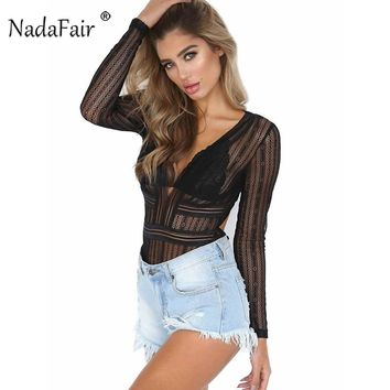 Nadafair Long Sleeve V Neck Backless See Through Sexy Lace Bodysuit Club Casual Tops