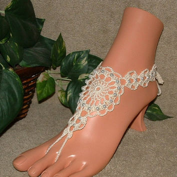 SALE Crochet Victorian Pearl Lace Barefoot Sandals, Wedding Bridal Shoes, Anklet, Foot Jewelry, Footless, Beach Jewelry