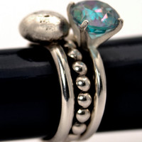 Mermaid Stacking Ring Trio  Solid Sterling Silver with 8mm Rainbow Topaz