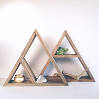 Hand Stained Triangle Wood Shelf