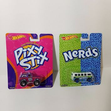 Set Of 2 Hot Wheels Pop Culture Candy Pixy Stix and Nerds Volkswagen Wagon