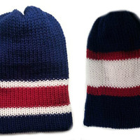 Mens Knit hat Navy blue red and white strips reversible beanie hat - Reversible Hat For Men- Men accessories Man winter Fashion -men beanie