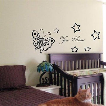 CUSTOM PERSONALIZED BABY NAME TINKERBELL FAIRY WALL STICKER BOY GIRL ROOM 03