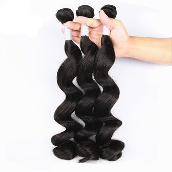 Peruvian Loose Wave Human Hair 3 Bundles Deal 10-28 Inch Hair Weave Natural Color Remy Hair