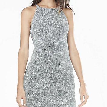 Metallic Asymmetrical Hem Sheath Dress from EXPRESS