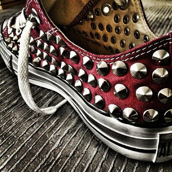 Studded Converse, Converse Burgundy Low Top with silver cone rivet studs by CUSTOMDUO on ETSY