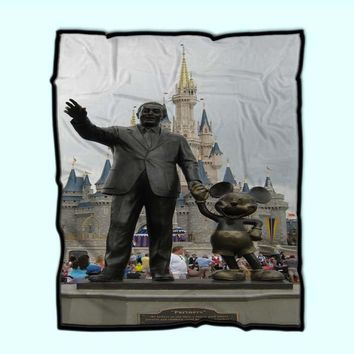 Walt And Mickey Mouse Statue In Front Of Castle Fleece Blanket