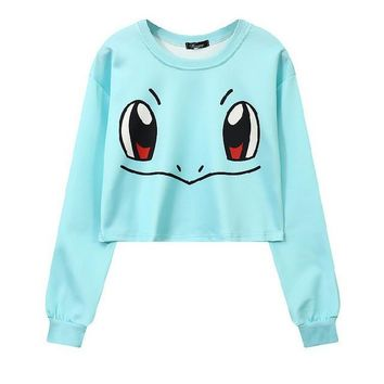 Squirtle 3-D Pokemon Printed Women's Crop Top Sweatshirts ONE SIZE