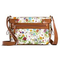 Women's Floral Print Crossbody Handbag with Brown Trim - White