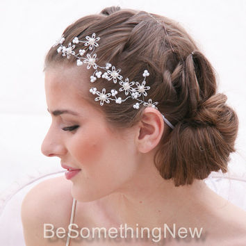 Wedding Hair Vine of Vintage Sequins Flowers the Perfect Wedding Hair Accessory, Wired Flower Hair Vine with Pearls, Wedding Hair