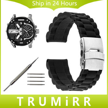 20mm 22mm 24mm Silicone Rubber Watch Band + Tool for Diesel Men Women Stainless Steel Safety Buckle Strap Wrist Bracelet Black