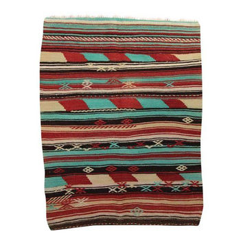 Ivy Red/Blue Striped Pattern Kilim Area Rug