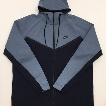 KUYOU Nike Sportswear Tech Fleece Full Zip Up Hoodie Aegean Storm Heather Obsidian Black 885904-437