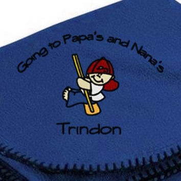 Boy's Going to Grandma's Nana's Mama's Mimi's Grandma and Grandpa's Nana and Papa's Personalized Embroidered Fleece Blanket
