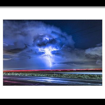 Alien Power Line Explosion Framed Print