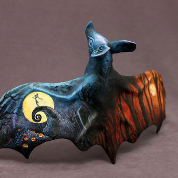 Halloween Nightmare before Christmas inspired bat sculpture OOAK