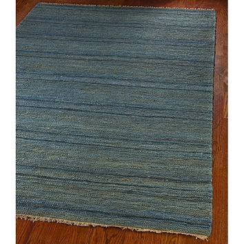 Hand-knotted All-Natural Oceans Blue Hemp Rug (5' x 8')