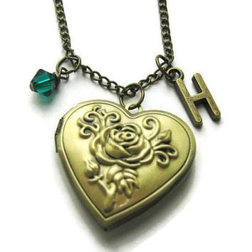 Rose Locket, Flower Locket, Bridesmaid Locket,Locket For Mom, Locket For Gramma, Locket For Friends, Birthstone Necklace, Personalized