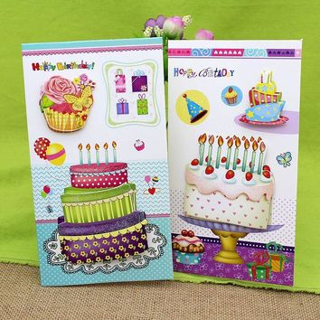 (16 pieces/lot)3D Stereo Cake Handmade Birthday Greeting Card with Envelope Happy Birthday Gift to Friend Card Set Free Shipping