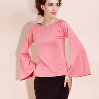 Pink or Black Flair Sleeve Blouse Shirt