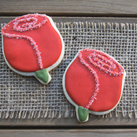 Derby Party Favors / Mother's Day Gifts / Valentine's Day Gifts / Wedding Favors / Rose Party Favors / Red Rose Sugar Cookies - 12 cookies