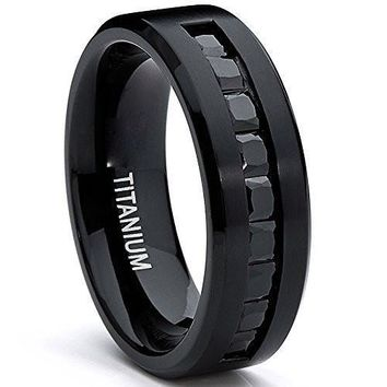 Men's Black Titanium Ring Wedding Engagement Band With 9 Large Princess Cut Channel Set Black CZ, 8mm Sizes 7-13