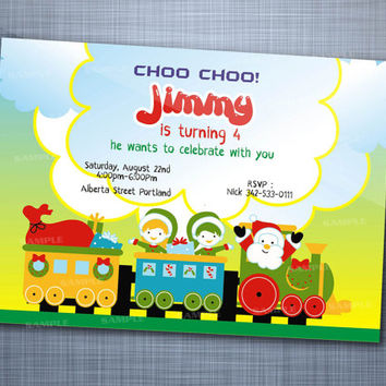 Colorful Santa Train, Birthday Party, Invitation Card Design