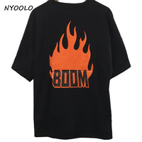 NYOOLO Harajuku tees summer fashion explosion flame boom letters printed short sleeve loose T-shirt women/men clothing tops