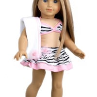 Fun with the Sun - Clothes for 18 inch Doll - 4 Piece Swimsuit Outfit - Skirt, Bikini Top, matching Flip Flops and Beach Blanket