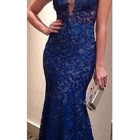 Royal Blue Lace Sheer Mesh Sleeveless V Neck Open Back Mermaid Maxi Dress Gown