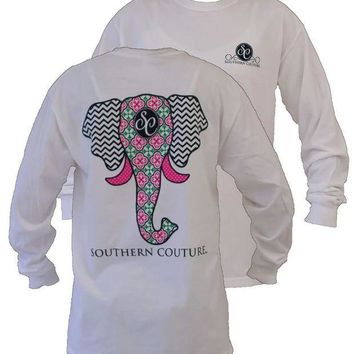 DKJN6 Southern Couture Preppy Elephant Chevron Pattern Comfort Colors White Girlie Long Sleeve Bright T Shirt
