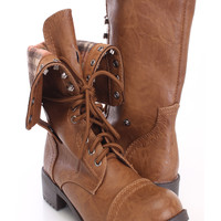 Tan Lace Up Cuffed Combat Boots Faux Leather