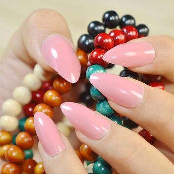 24pcs Fashion Oval Sharp end Stiletto False Nails Candy Pink Full Cover Fake Nails Tips Manicure Artificial Nails Salon