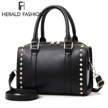 Herald Fashion Women Handbag With Rivets Large Capacity Casual Tote Bags Quality Leather Female Shoulder Bag Lady's Boston Bags