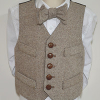 Boys Vest,  wool brown tweed, 100% cotton lined , formal wear, all sizes, toddler - youth, leather buttons, handmade, custom, USA