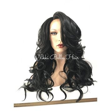 Darkest Black Curly Human Hair Blend Multi Parting Lace Front Wig - Salisa