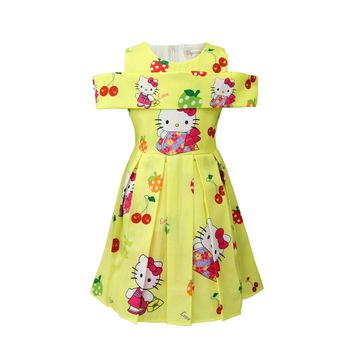 2018 New Summer Children Hello Kitty Cartoon  Princess Dress Costume for Baby Girls Clothes Party Dresses Kids Cat Dress 3-10Y