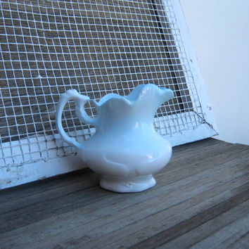 Cottage Chic White with Baby Blue Creamer or Small Table Pitcher - Vintage Farmhouse Creamer; Pale Blue with White - Country Chic Nursery