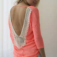 Time of Our Lives Crochet Top - Neon Coral