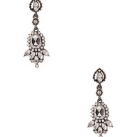 FOREVER 21 Forever Glam Drop Earrings Dark Grey/Clear One