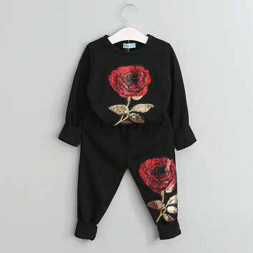 Menoea  Long Sleeve Roses Floral Embroidered Sequin Kids Clothing Sets