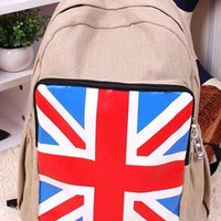 Fashion Union Jack Print Leisure Canvas Backpack from perfectmall