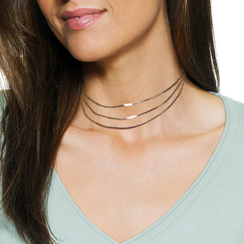 Three Line Layered Choker Necklace