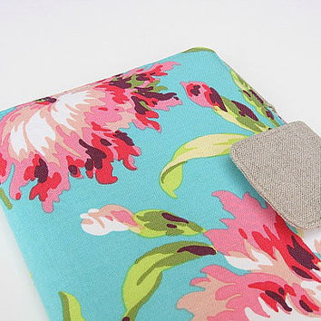 Kindle Cover Kindle Fire Cover Nook Simple Touch Cover iPad Mini Cover Kobo Cover Case Amy Butler Love Floral Flowered Aqua Pink eReader