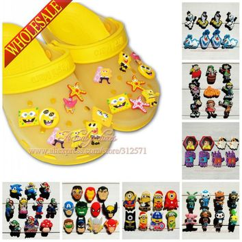 Free shipping 11-19pcs High Quality Cartoon PVC shoe charms shoe accessories for clog Wristbands Fit cor croc jibz Party Gift